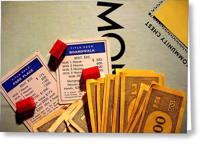 Monopoly Greeting Cards - In Play Greeting Card by Robert Cunningham