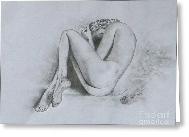 Girl Laying Down Drawings Greeting Cards - In Tears Greeting Card by Christopher Keeler Doolin