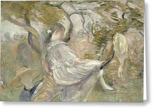 Climbing In Greeting Cards - In the Apple Tree Greeting Card by Berthe Morisot