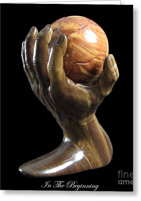 Religious Sculptures Greeting Cards - In The Beginning Greeting Card by Kjell Vistnes