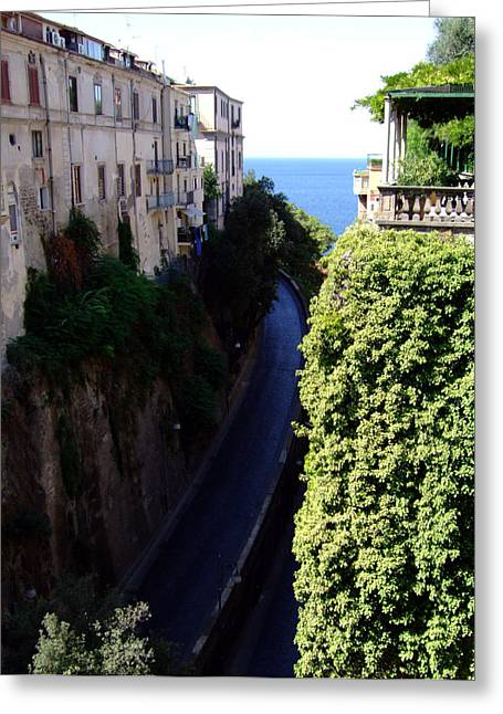 Walk Paths Digital Art Greeting Cards - In the center of Sorrento Italy Greeting Card by Mindy Newman