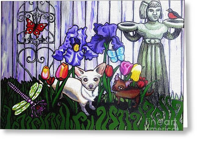 Commssioned Pet Portraits Greeting Cards - In The Chihuahua Garden Of Good and Evil Greeting Card by Genevieve Esson