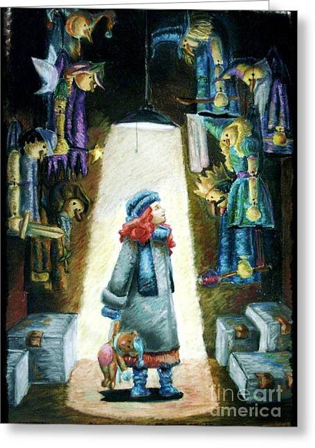 Medieval Pastels Greeting Cards - In the Closet of the Puppeteer Greeting Card by Yagmur Telorman