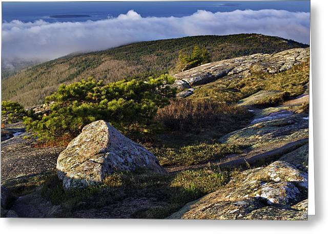 Mountain Photographs Greeting Cards - In the Clouds At Cadillac Greeting Card by Rick Berk