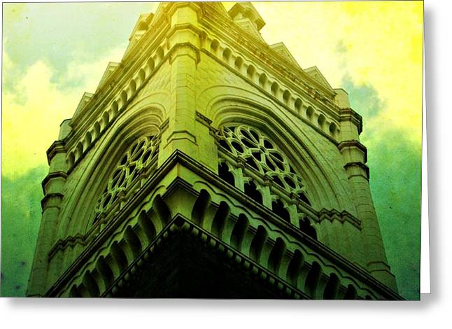 Urban Buildings Greeting Cards - In the Clouds Greeting Card by Cathie Tyler