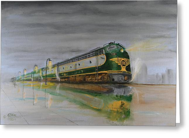 Locomotive Greeting Cards - In the Cold Mist Greeting Card by Christopher Jenkins