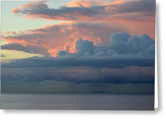 Ocean Panorama Greeting Cards - In The Company Of Clouds Greeting Card by Fraida Gutovich