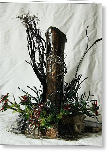 Flowers Sculptures Greeting Cards - In the Ditch Greeting Card by Mariann Taubensee