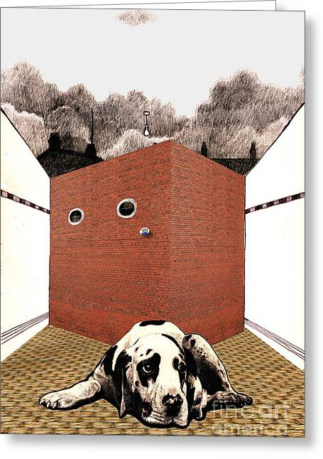 Visual Metaphors Greeting Cards - In the Dog House  Greeting Card by Andy  Mercer