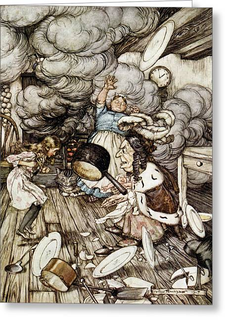 Lewis Carroll Greeting Cards - In the Duchesss Kitchen Greeting Card by Arthur Rackham