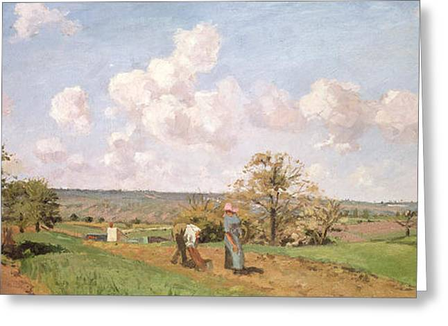 Camille Pissarro Greeting Cards - In the fields Greeting Card by Camille Pissarro