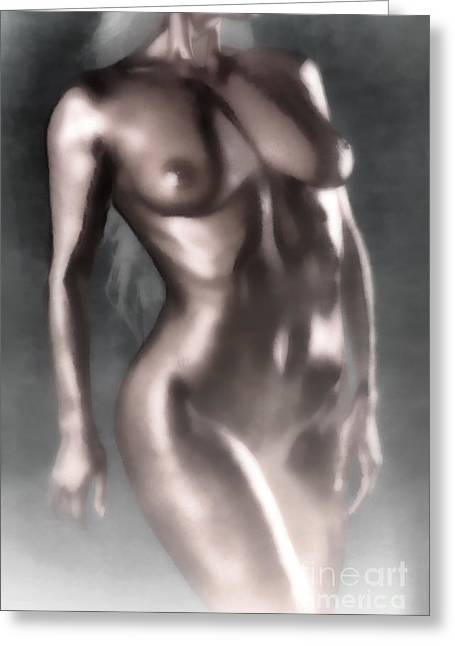 Female Body Greeting Cards - In the Fog Greeting Card by Naman Imagery