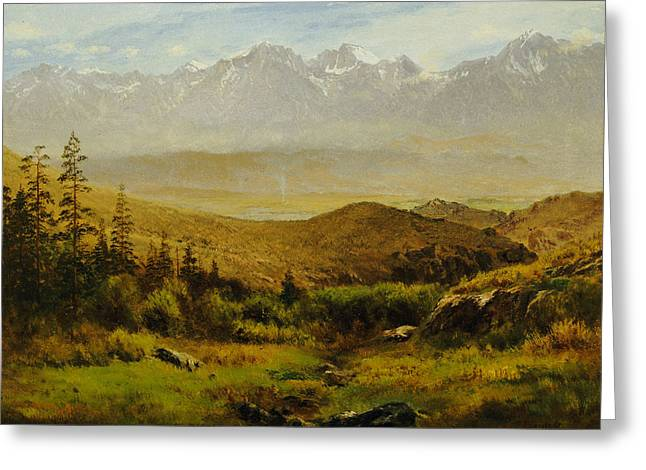 Bierstadt Greeting Cards - In the Foothills of the Rockies Greeting Card by Albert Bierstadt