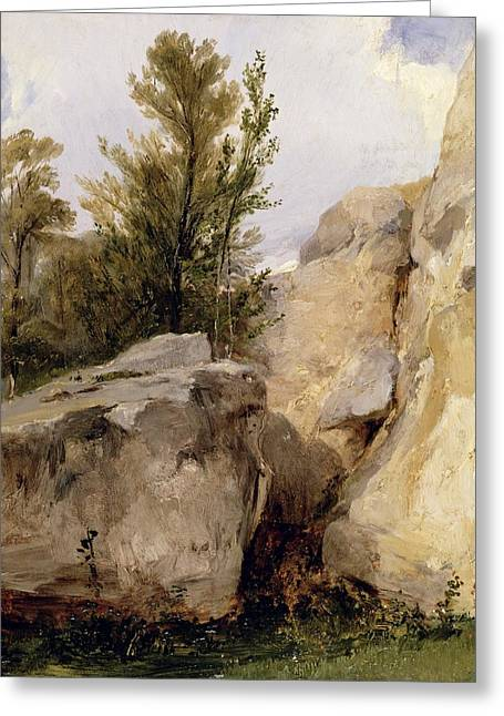 Fontainebleau Forest Greeting Cards - In the Forest of Fontainebleau Greeting Card by Richard Parkes Bonington