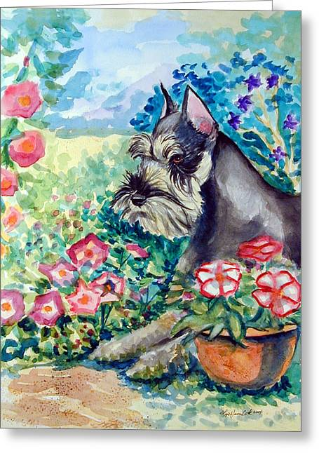 Schnauzer Greeting Cards - In the Garden - Schnauzer Greeting Card by Lyn Cook