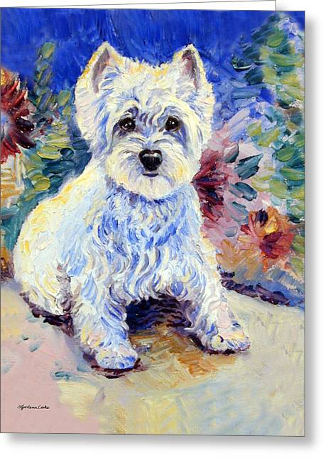 West Highland Greeting Cards - In the Garden - West Highland Terrier Greeting Card by Lyn Cook