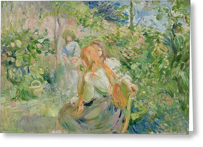 French Pears Greeting Cards - In the Garden at Roche Plate Greeting Card by Berthe Morisot