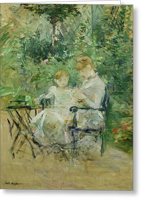 Berthe Paintings Greeting Cards - In the Garden Greeting Card by Berthe Morisot