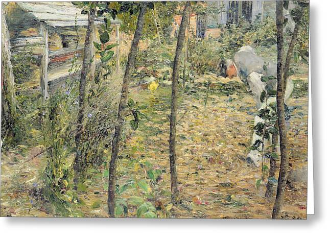 Figure In Oil Greeting Cards - In the Garden Greeting Card by Charles Angrand