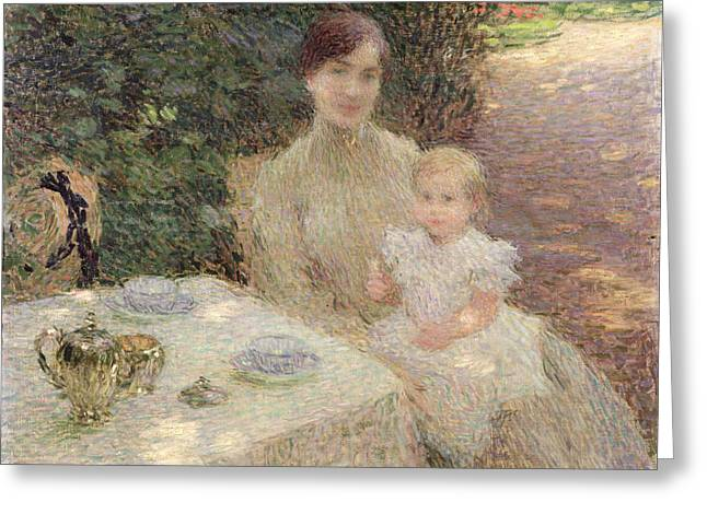 Mothering Sunday Greeting Cards - In the Garden Greeting Card by Ernest Joseph Laurent