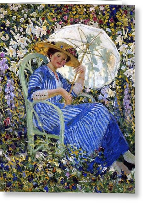 Sun Shade Greeting Cards - In the Garden Greeting Card by Frederick Carl Frieseke