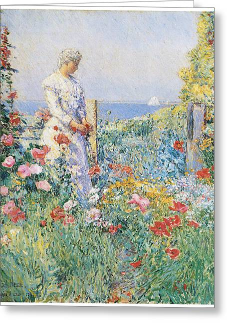 Recently Sold -  - Victorian Greeting Cards - In the Garden Greeting Card by Frederick Childe Hassam