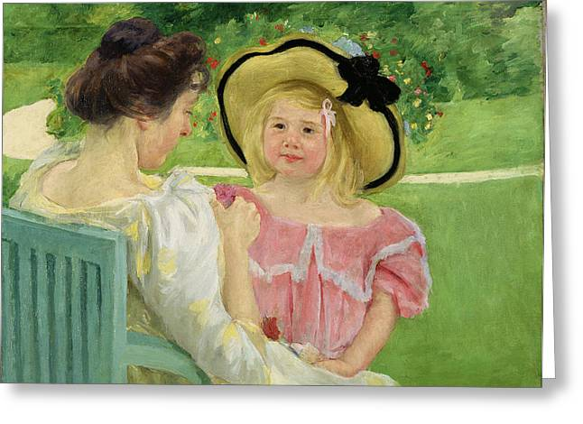 Stevenson Greeting Cards - In the Garden Greeting Card by Mary Stevenson Cassatt