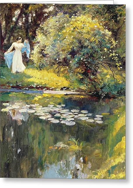 Water Lily Pond Greeting Cards - In the Garden Greeting Card by Sir Hubert von Herkomer