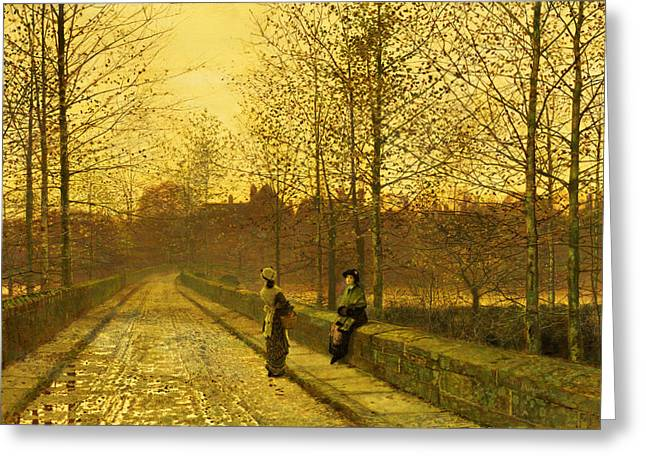 Roads Paintings Greeting Cards - In the Golden Gloaming Greeting Card by John Atkinson Grimshaw