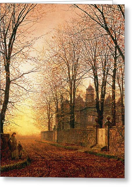 Leafy Greeting Cards - In the Golden Olden Time Greeting Card by John Atkinson Grimshaw