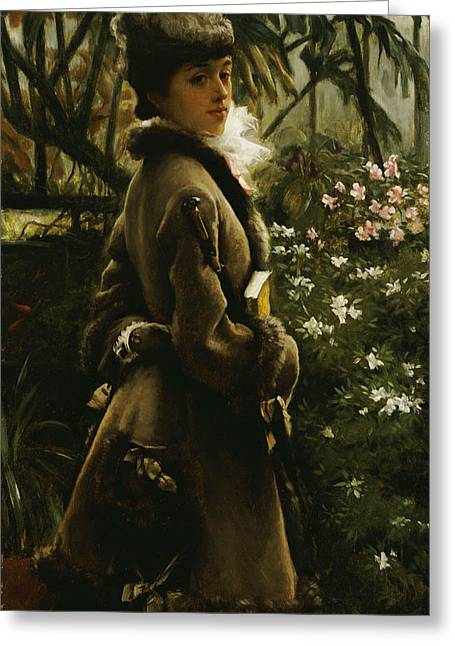 Conservatory Greeting Cards - In the Greenhouse Greeting Card by James Jacques Joseph Tissot