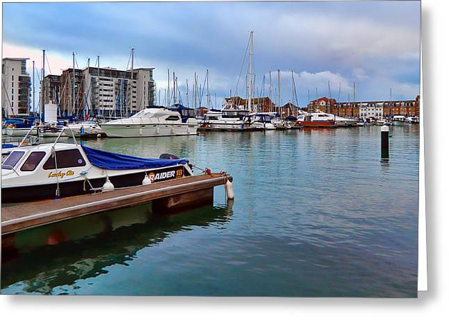 Yatch Greeting Cards - In the harbor Greeting Card by Sharon Lisa Clarke