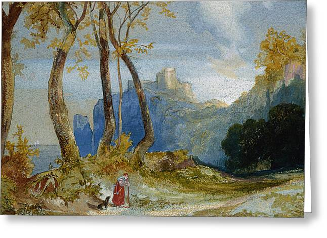 In the Hills Greeting Card by Thomas Moran