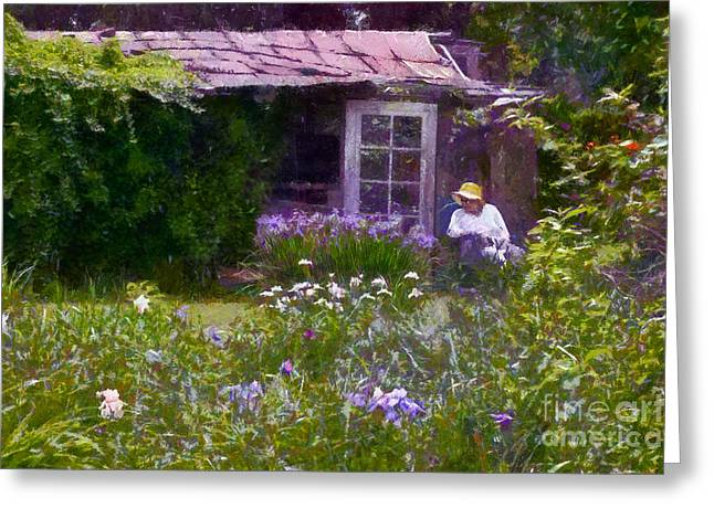In The Iris Garden Greeting Card by Susan Isakson