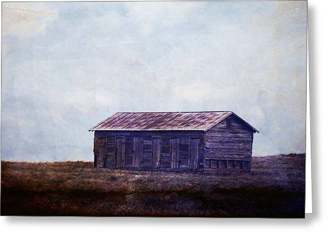 Barn Landscape Photographs Greeting Cards - In the middle of nowhere Greeting Card by Toni Hopper
