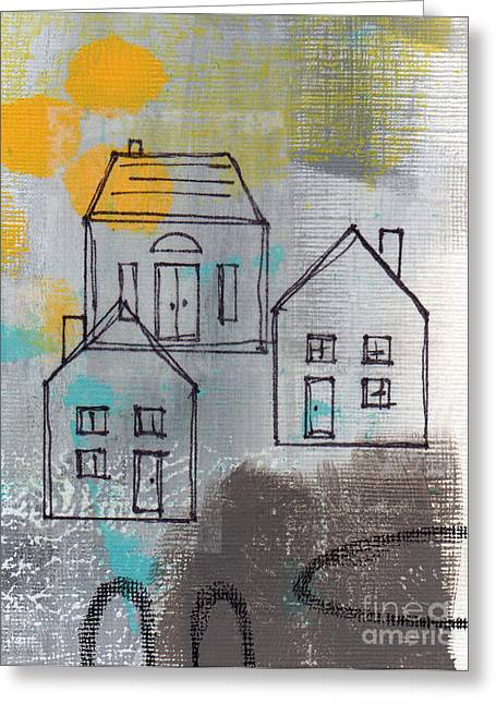 White House Mixed Media Greeting Cards - In The Neighborhood Greeting Card by Linda Woods