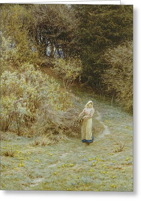 Gathering Greeting Cards - In the Primrose Wood Greeting Card by Helen Allingham