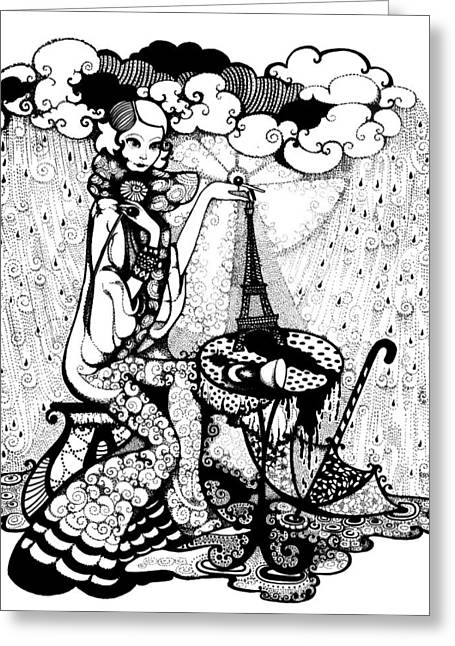 Puddle Drawings Greeting Cards - In the rain Greeting Card by Ievgeniia Lytvynovych