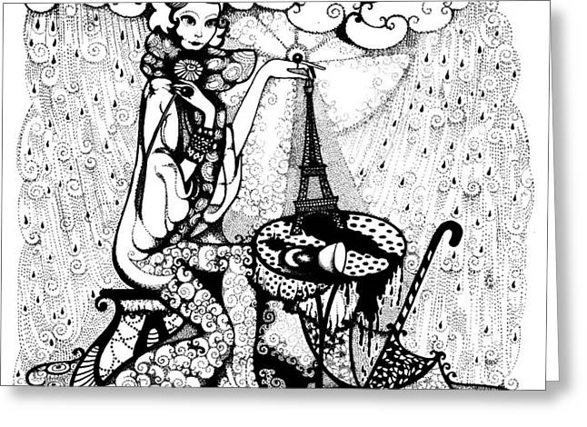 In the rain Greeting Card by Ievgeniia Lytvynovych