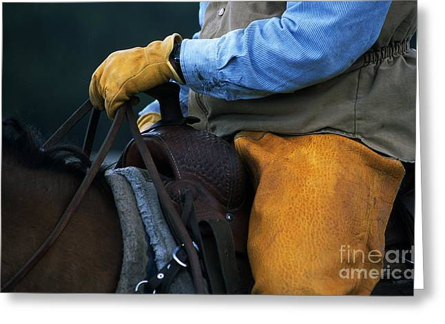 Cowboy Hands Greeting Cards - In The Saddle Again Greeting Card by Bob Christopher