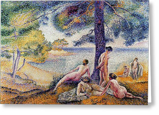 Figure In Oil Greeting Cards - In the Shade Greeting Card by Henri-Edmond Cross