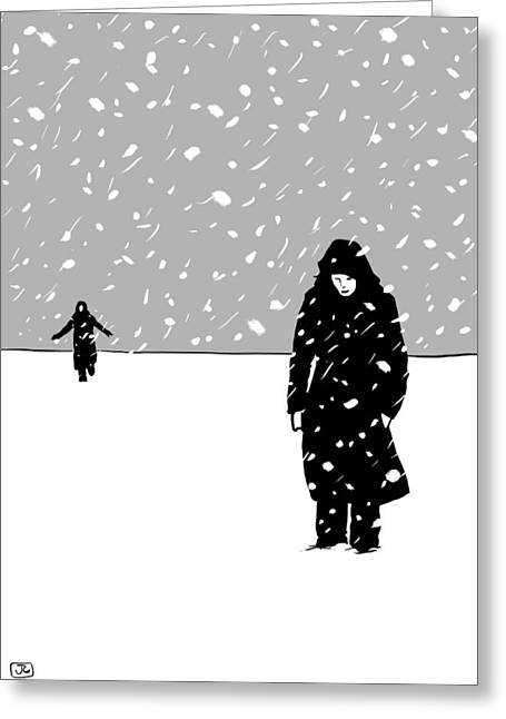 Storm Digital Greeting Cards - In the snow Greeting Card by Giuseppe Cristiano