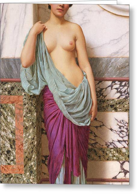 Boobs Greeting Cards - In the Tepidarium Greeting Card by John William Godward