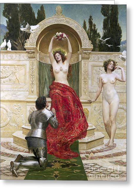Figure In Oil Greeting Cards - In the Venusburg Greeting Card by John Collier