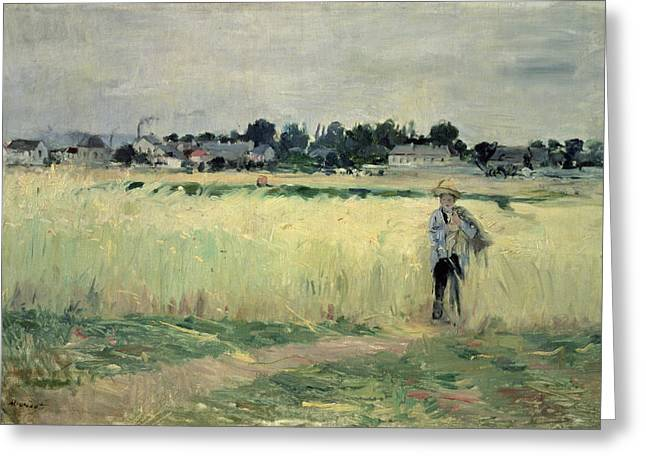 Berthe Paintings Greeting Cards - In the Wheatfield at Gennevilliers Greeting Card by Berthe Morisot