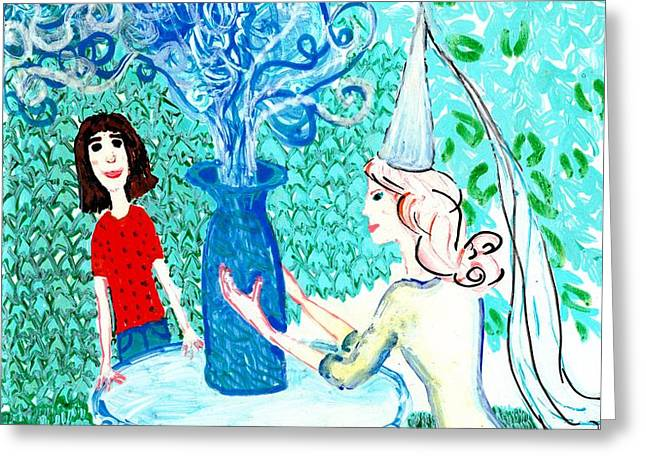 In the White Lady's Cave Greeting Card by Sushila Burgess
