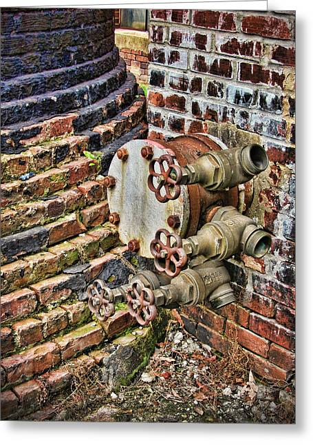 Brass Fittings Greeting Cards - In The Works Greeting Card by Kathy Clark