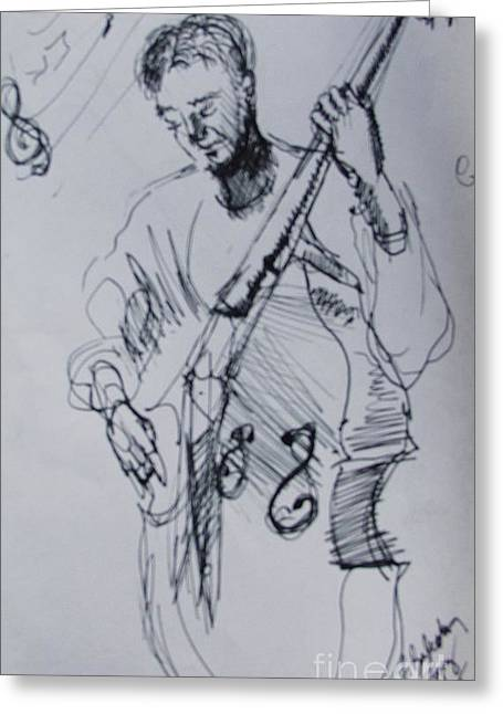 Player Drawings Greeting Cards - In the Zone Bass Player Greeting Card by Jamey Balester