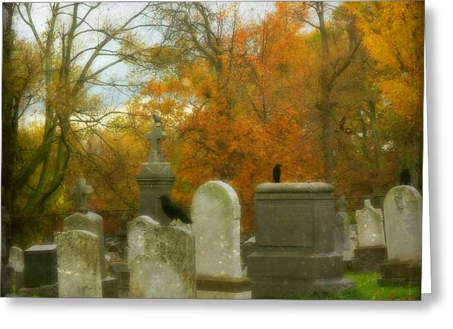 Ravens In Graveyard Greeting Cards - In Their Glory Greeting Card by Gothicolors Donna Snyder