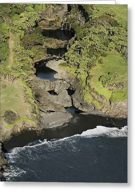 Hawaiian Pond Greeting Cards - In This Aerial View, A Rocky Streambed Greeting Card by William Allen